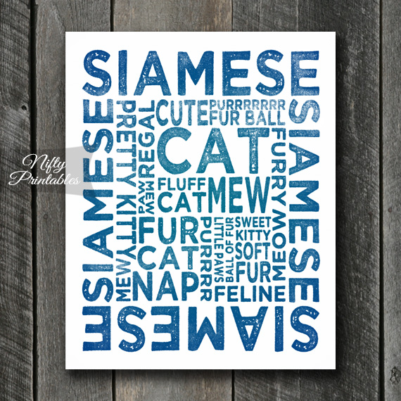Siamese Cat Art Print - Cat Typography