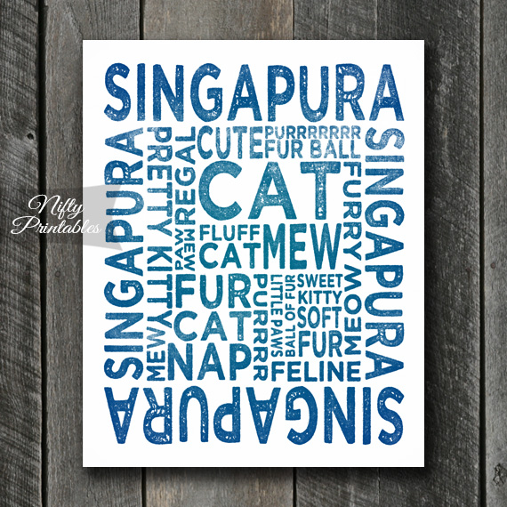 Singapura Art Print - Cat Typography