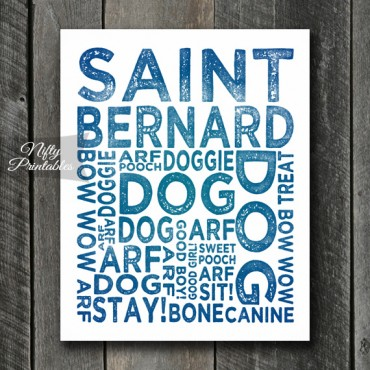 St Bernard Art Print - Dog Typography