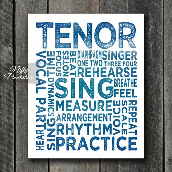 Tenor Print Art - Music Typography