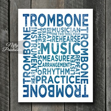 Trombone Print Art - Music Typography