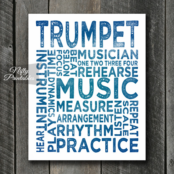 Trumpet Print Art - Music Typography