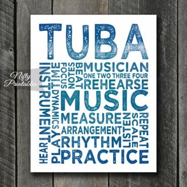 Tuba Print Art - Music Typography