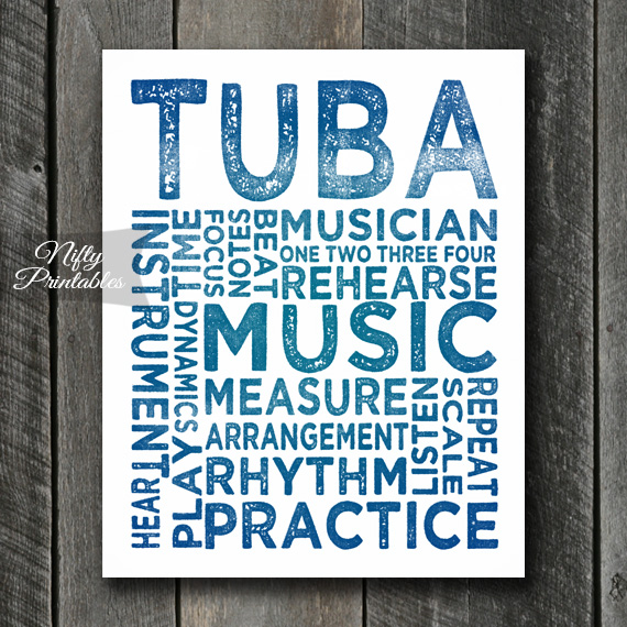 Tuba Print Art - Music Typography