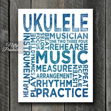 Ukulele Print Art - Music Typography