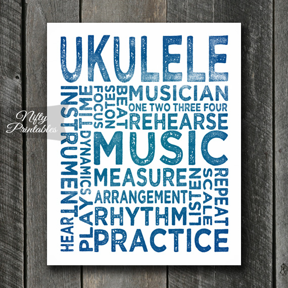 Ukulele Print Art - Music Typography