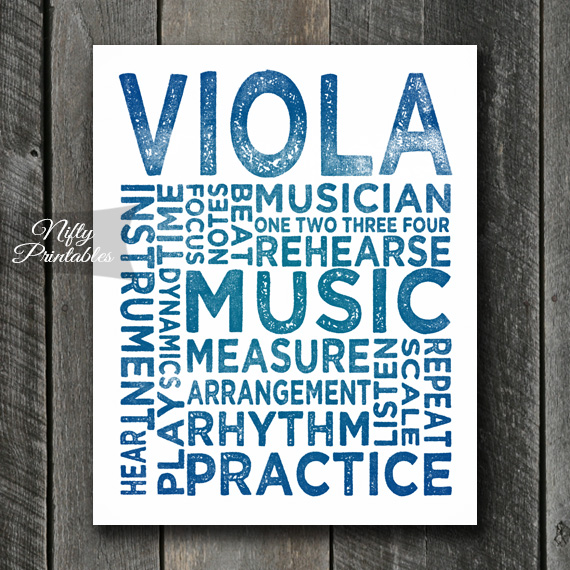 Viola Print Art - Music Typography