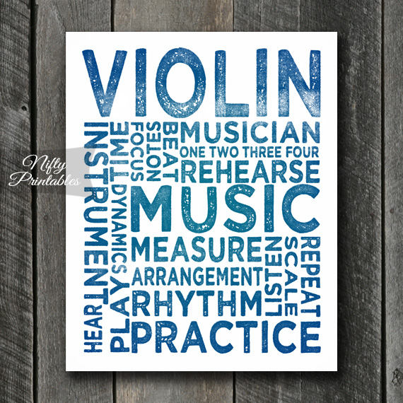 Violin Print Art - Music Typography