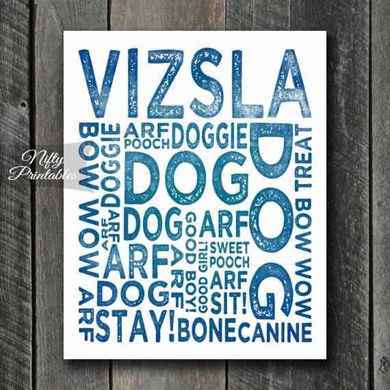 Vizsla Art Print - Dog Typography
