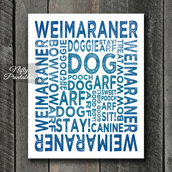 Weimaraner Art Print - Dog Typography