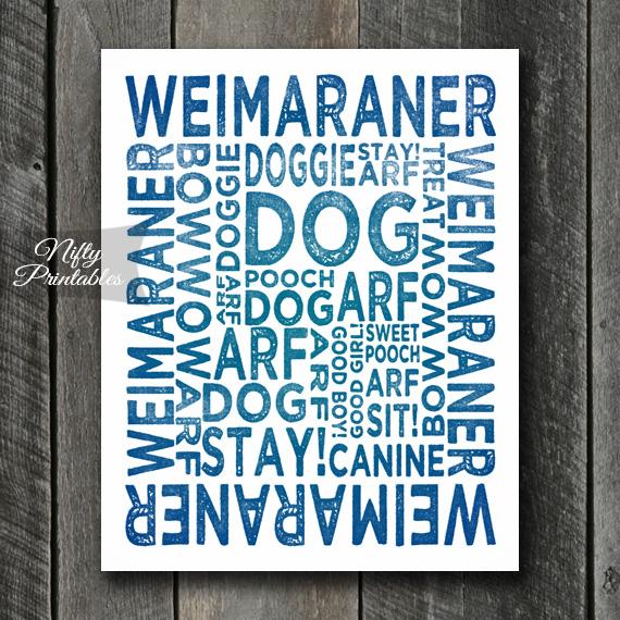 Weimaraner Art Print - Dog Typography