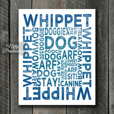 Whippet Art Print - Dog Typography