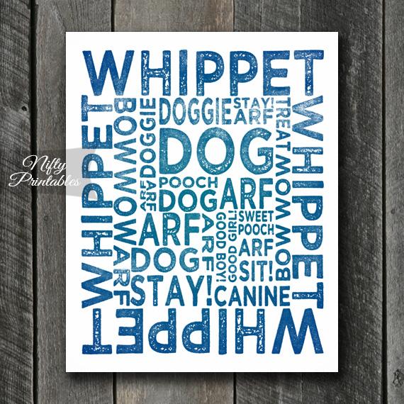Whippet Art Print - Dog Typography