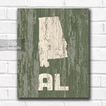Alabama Print - Rustic Wood
