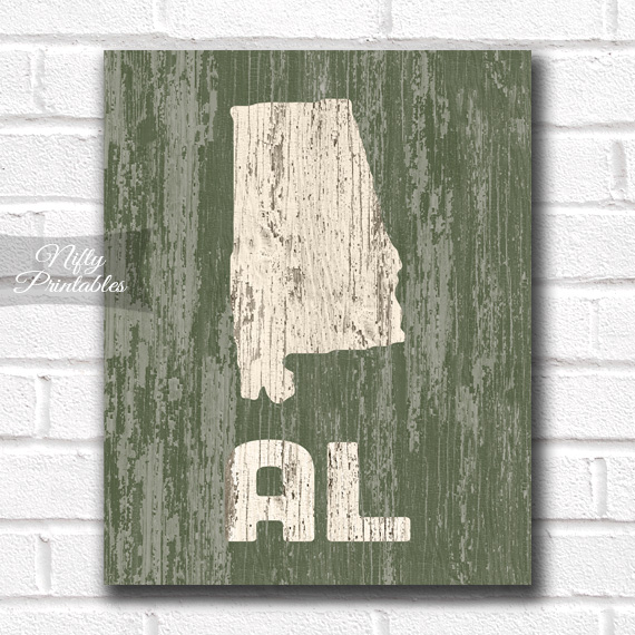 Alabama Print - Rustic Wood