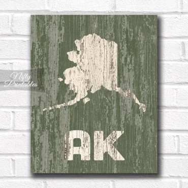 Alaska Print - Rustic Wood