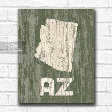 Arizona Print - Rustic Wood