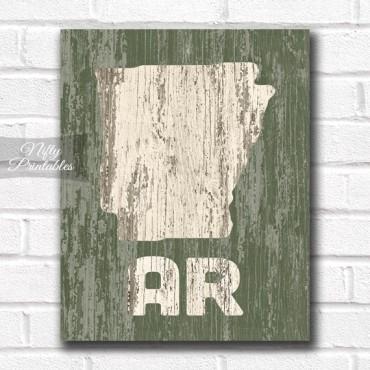 Arkansas Print - Rustic Wood