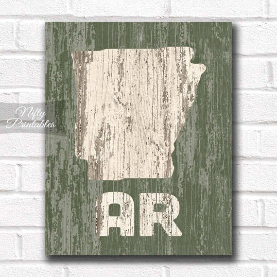 Arkansas Print - Rustic Wood