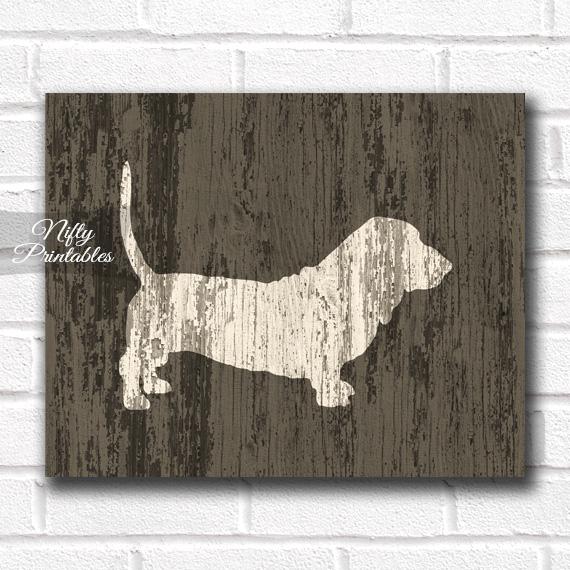 Basset Hound Print - Rustic Wood Dog