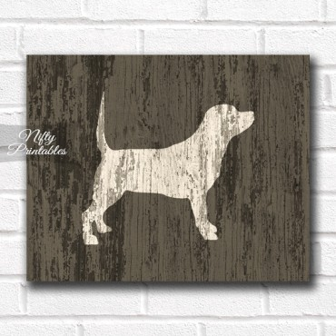 Beagle Print - Rustic Wood Dog