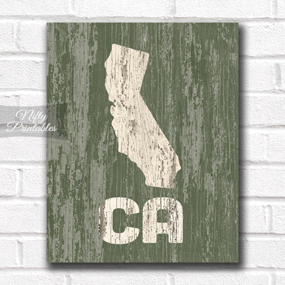 California Print - Rustic Wood