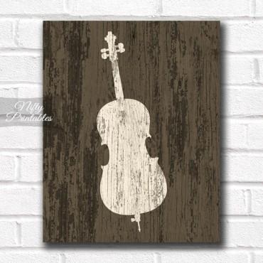 Cello Print - Rustic Wood