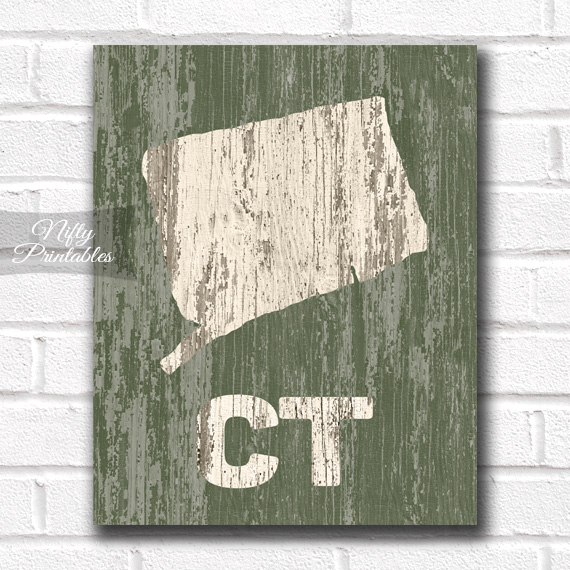 Connecticut Print - Rustic Wood