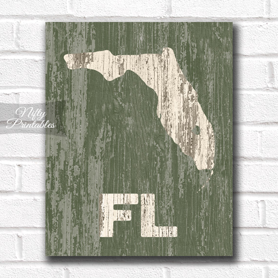 Florida Print - Rustic Wood