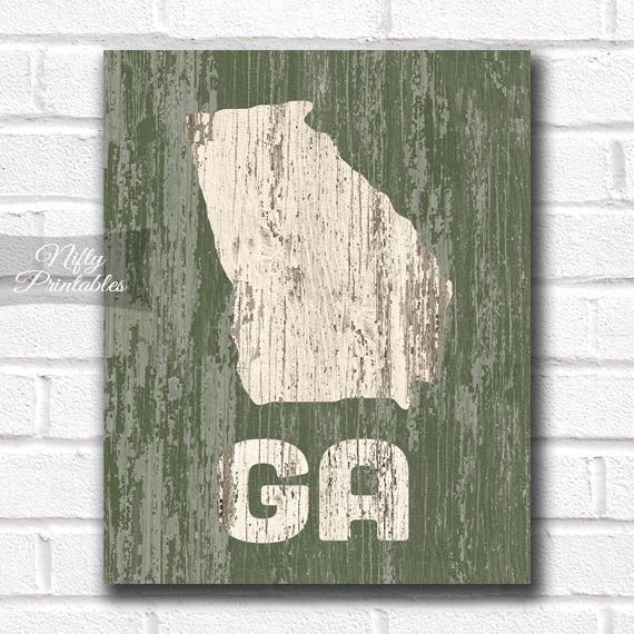 Georgia Print - Rustic Wood