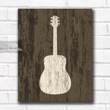 Guitar Print - Rustic Wood