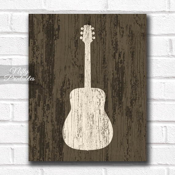 Guitar Print - Rustic Wood
