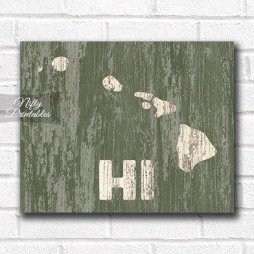 Hawaii Print - Rustic Wood