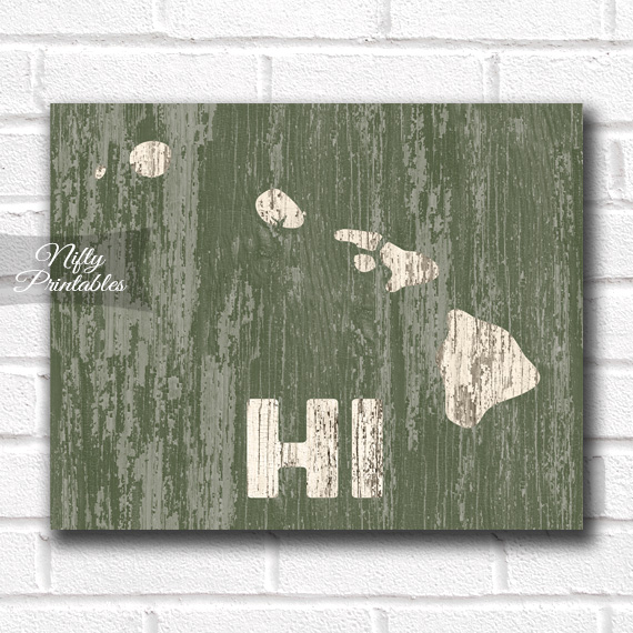 Hawaii Print - Rustic Wood