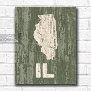 Illinois Print - Rustic Wood
