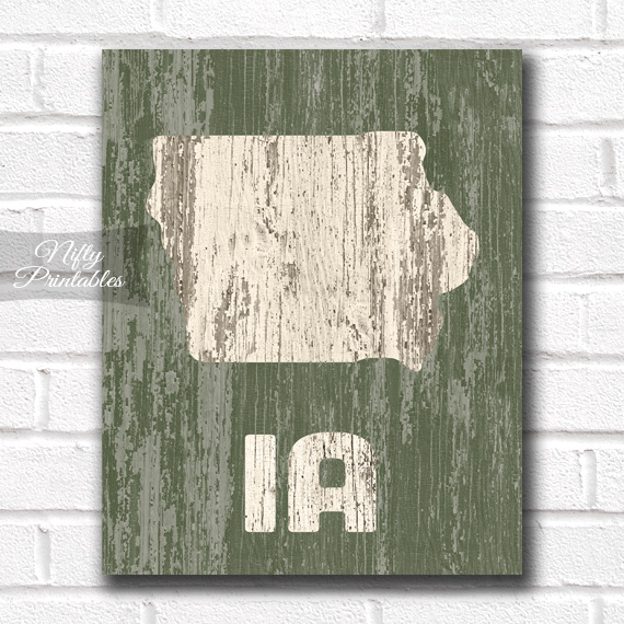 Iowa Print - Rustic Wood