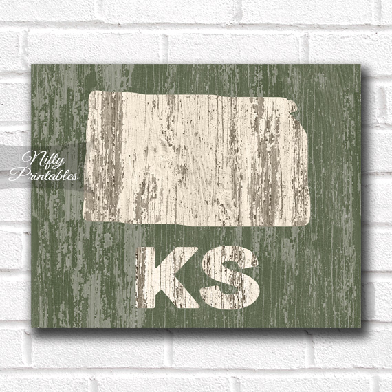 Kansas Print - Rustic Wood