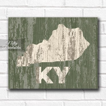 Kentucky Print - Rustic Wood