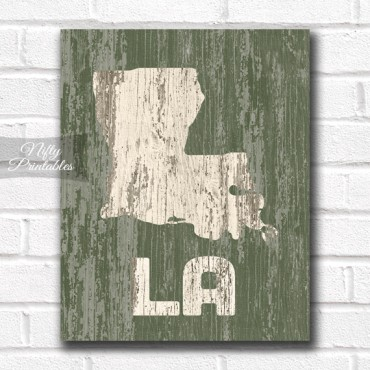 Louisiana Print - Rustic Wood