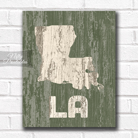 Louisiana Print - Rustic Wood