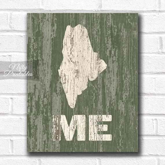 Maine Print - Rustic Wood