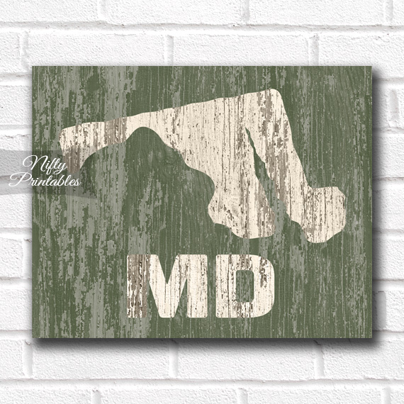 Maryland Print - Rustic Wood