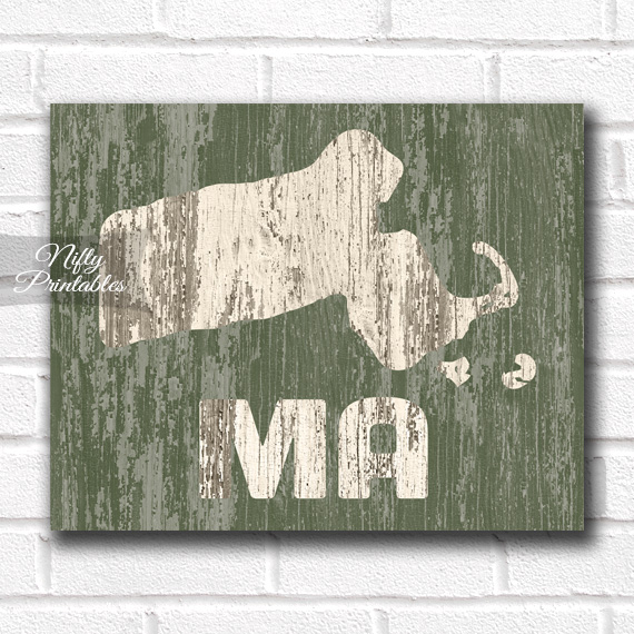 Massachusetts Print - Rustic Wood