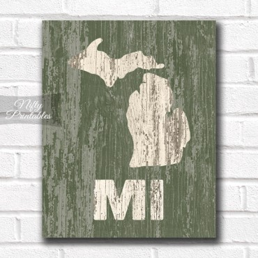 Michigan Print - Rustic Wood
