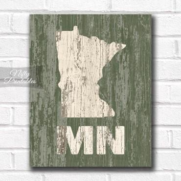 Minnesota Print - Rustic Wood