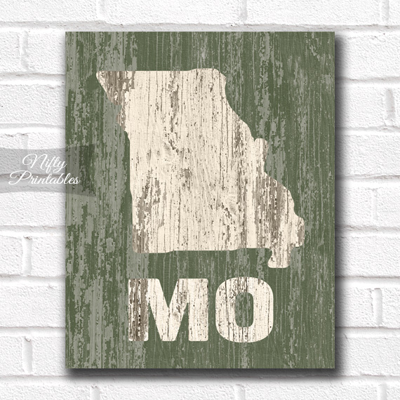 Missouri Print - Rustic Wood