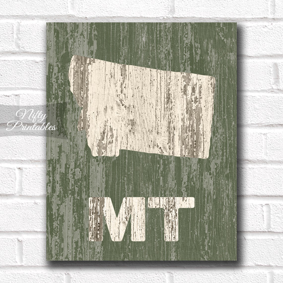 Montana Print - Rustic Wood