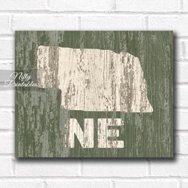Nebraska Print - Rustic Wood