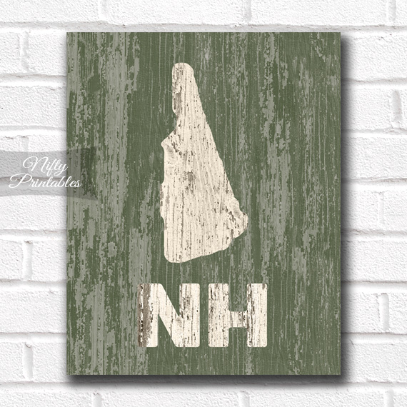 New Hampshire Print - Rustic Wood