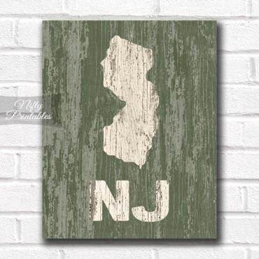 New Jersey Print - Rustic Wood